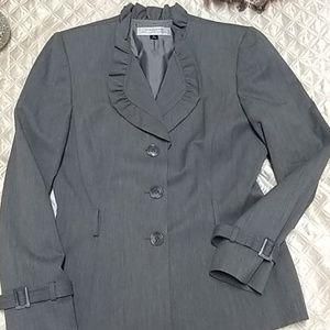 Tahari Ruffled Collar pant suit : Macys